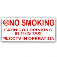 2 x Taxi Minicab External Stickers-No Smoking,Eating,Drinking,CCTV In Operation Warning Hackney Mini Cab Sign